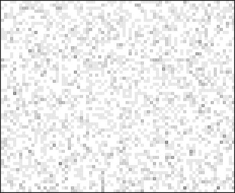 Gambar yang dibuat oleh komputer yang menunjukkan perilaku acak Lotere Massal melalui garis-garis dan kelompok titik hitam dan putih.
