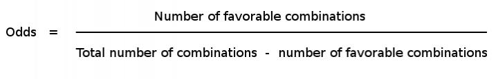 Bagilah jumlah kombinasi yang menguntungkan dengan selisih dari mengurangkan jumlah kombinasi yang menguntungkan dari total kombinasi untuk mendapatkan peluang