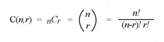 "Anda membaca rumus ini dengan mengatakan ""n pilih r"". Ini adalah rumus untuk menghitung jumlah kemungkinan kombinasi objek r dari n kumpulan objek. Misalnya, Anda dapat menemukan jumlah kombinasi dalam permainan 6/42 dengan mengganti 6 menjadi r dan 42 menjadi n."