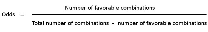 Peluang sama dengan jumlah kombinasi yang menguntungkan atas selisih antara jumlah total kombinasi dan kombinasi yang disukai